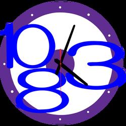 3D Ceas de perete exclusiv, culoare: purpuriu, albastru închis