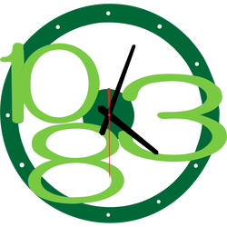 3D wall clock Exclusive, color: green, bright green numbers