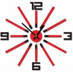 3D ceas de perete colorat WARRAS, culoare: negru, roșu