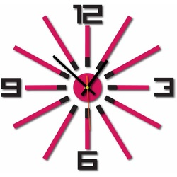 3D ceas de perete color WARRAS, culoare: negru, roz