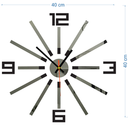 3D ceas de perete colorat WARRAS, culoare: negru, gri