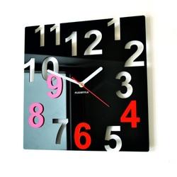 Ceasuri de perete moderne - Numere de culori-Culoare: Negru, Roșu