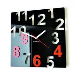 Ceasuri de perete moderne - Numere de culori, Culoare: Negru, Portocaliu