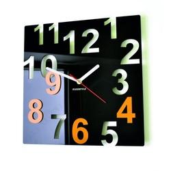 Ceasuri de perete moderne - Numere de culori, Culoare: Negru, Galben