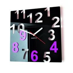 Nowoczesny zegar ścienny - kolorowy kolor, czarny, różowy