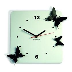 Modern falióra műanyagból-Pillangók, Szín: fehér, fekete, Méret: 30x30 cm