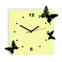 Ceas de perete modern din plastic - Fluturi, Culoare: cafea albă, negru, Dimensiune: 30x30 cm