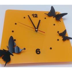Ceas de perete modern din plastic-Butterflies, Culoare: galben, negru, Dimensiune: 30x30 cm