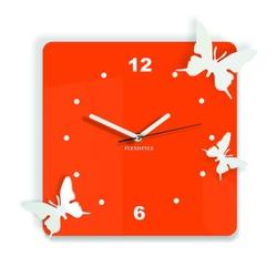 Ceas de perete modern din plastic - Fluturi, Culoare: portocaliu, alb, Dimensiune: 30x30 cm