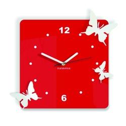 Ceas de perete modern din plastic - Fluturi, Culoare: roșu, alb, Dimensiune: 30x30 cm