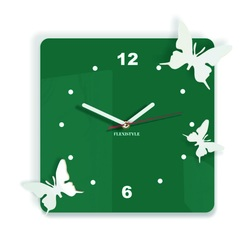 Modern wall clock made of plastic-Butterflies, Color: dark green, white, Size: 30x30 cm