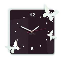 Moderné nástenné hodiny z plastu-Motýle, Farba:tmavá hnedá,biela, Rozmer: 30x30 cm