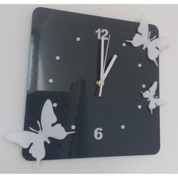 Ceas de perete modern din plastic - Fluturi, Culoare: gri, alb, Dimensiune: 30x30 cm