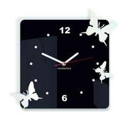 Ceas de perete modern din plastic - Fluturi, Culoare: negru, alb, Dimensiune: 30x30 cm