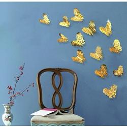 Autocolant de perete modern - fluture de aur, 1 set - 12pcs