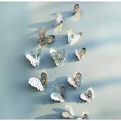 Sticla de perete cu oglindă-fluture argint, 1 set - 12 buc