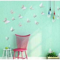 Autocolant 3D pe perete fluture argint, 1 set - 12 buc