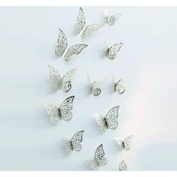 Autocolant la modă fluture-Argint, 1 set - 12pcs