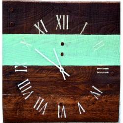 Drevené hodiny na stenu rímske modrá čiara .