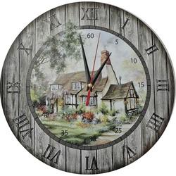 Ceas de perete din lemn - Căsuță, cerc Fi: 30cm