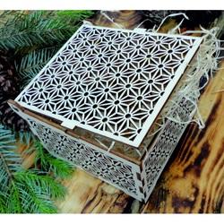 Casetă din lemn clasic - Ușor, dimensiune: 12,6x12,6x8,2 cm, pliată