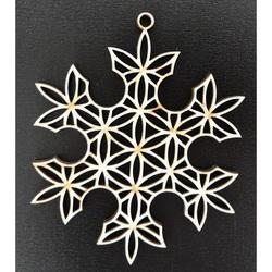 Ornamente din lemn de Crăciun - fulg de zăpadă, dimensiune: 61x61mm