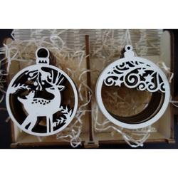Vintage ornamente din lemn, 1 set-12 bucăți