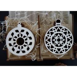 Ornamente din lemn de Crăciun, 1 set-12 bucăți