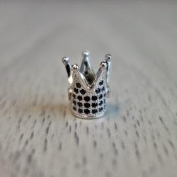 Coroana metalica cu zirconi negri - argint
