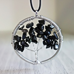 Pandantiv piatră prețioasă - copac - negru onix