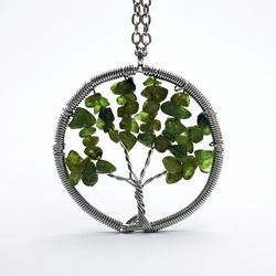 Pandantiv piatră prețioasă - copac - olivină