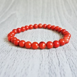 Brățară de mână - Coral roșu - Ø FI 6 mm