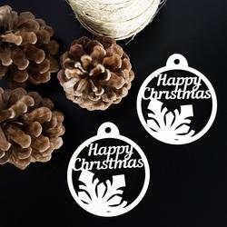Świąteczne dekoracje wykonane z drewna - Wesołych Świąt, wymiary: 79x90 mm