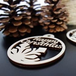 Decoratiuni de Craciun din lemn - Craciun Fericit, dimensiune: 79x90 mm