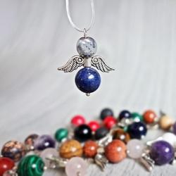 Pandantiv inger de minerale - hematit ușor și lapis lazuli