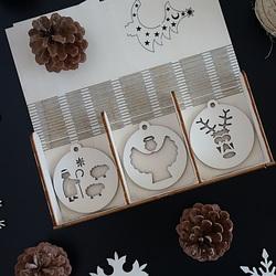 Decoratiuni din lemn de Craciun din lemn, 1 set-18 bucati