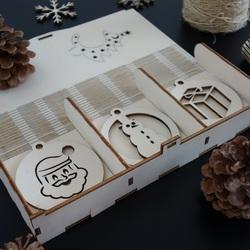 Ornamente din lemn de pom de Crăciun, 1 set-18 bucăți