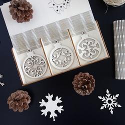 Ornamente din lemn de Crăciun, 1 set-18 bucăți