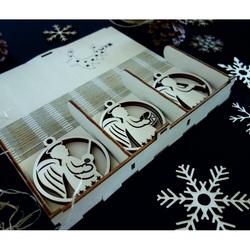 Vintage Ornamente de Crăciun din lemn, Setul conține 18 bucăți