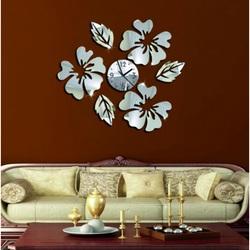 Ceas de perete cu oglindă și flori vopsite Timkó