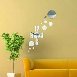 Modern wall clock (mirror clock on the wall) ALX SILVER