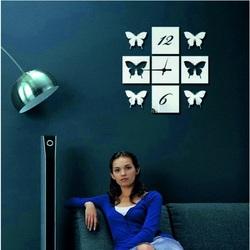 Ceas de perete oglindă aripi fluture, 40x40 cm