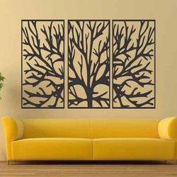 Pictura pe perete a unei ramuri de lemn din placaj de lemn într-un cadru / 3 bucăți de cadru / FERO