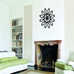 Hodiny na stenu Decor čierny kvet. Rozmer 35 x 35cm