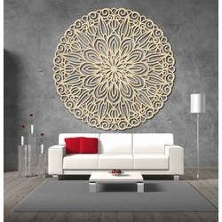 Carved flower mandala wooden image on a wall of plywood