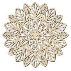 Floare sculptată imagine din lemn mandala pe un perete de placaj