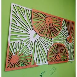 Imagine sculptată pe peretele din placaj de lemn portocaliu efect 3D KODJAK